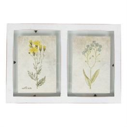 Rustic Double Floating Wall Photo Frame White