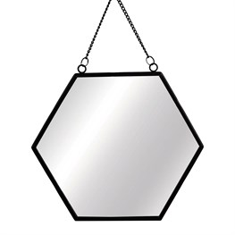 Jet Black Hexagon Mirror