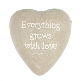 Everything Grows with Love Heart Pebble