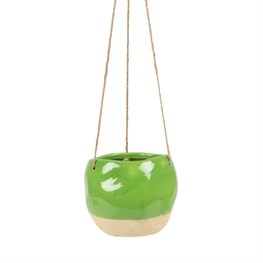 Green Dip Glaze Hanging Planter