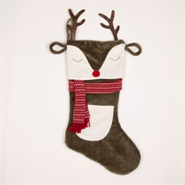 Reindeer with Antlers Christmas Stocking