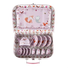 Woodland Friends Picnic Box Tea Set in Pink