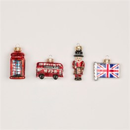 Set of 4 We Love London Baubles