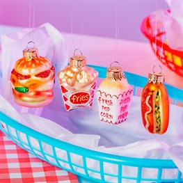 Mini Fun Fast Food Shaped Baubles - Set of 4