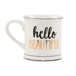 Metallic Monochrome Hello Beautiful Mug