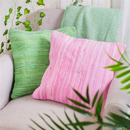 Pink Chindi Rag Cushion