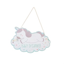Evie Unicorn Baby Room Hanging Plaque