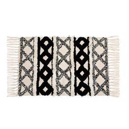 Scandi Boho Cotton White Tassel Rug