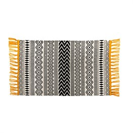 Scandi Boho Yellow Tassel Cotton Rug