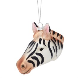 Glitter Zebra Head Shaped Bauble