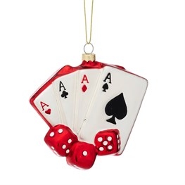 Game Night Cards and Dice Shaped Bauble