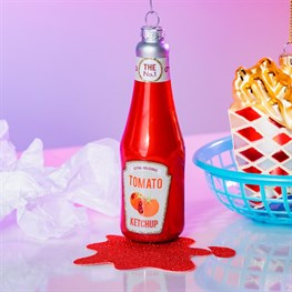 Fun Food Ketchup Bottle Shaped Bauble
