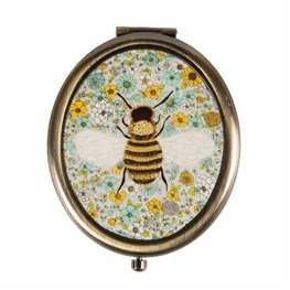 Summer Floral Bee Oval Compact Mirror