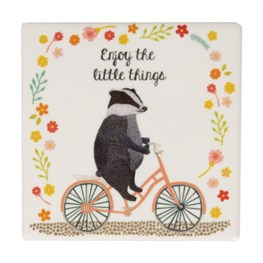 Enjoy the Little Things Badger on  Bike Coaster