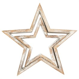 Set of 2 Rustic White Cut Out Star Standing Decorations