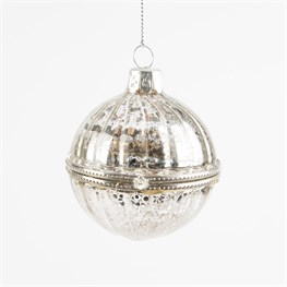 Christmas Crackle Silver Trinket Bauble