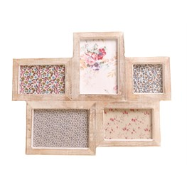 Five Multi Photo Frame White Wood Effect