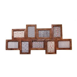 Dark Wood Photo Frame with 9 Apertures