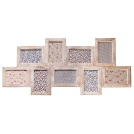White Wood Photo Frame with 9 Apertures