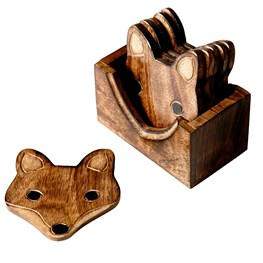 Wooden Fox Coasters - Set of 6