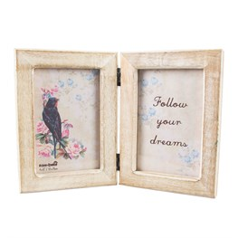 Double Rustic Wood Photo Frame White