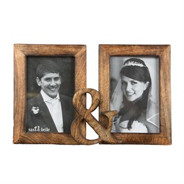 Double Rustic Wood Photo Frame Dark