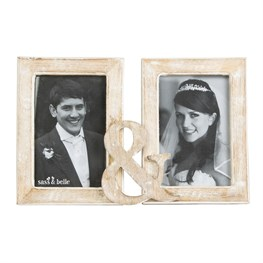 Double & Rustic Wood Photo Frame White