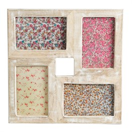 Square Collage Rustic Wood Photo Frame White