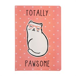 Pink Cutie Cat Totally Pawsome A5 Notebook