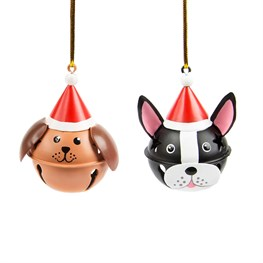 Dog in Christmas Hat Bell Decoration