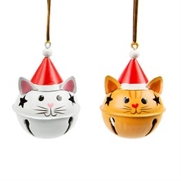Festive Cat Hanging Bell Decoration - 1 Piece