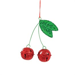 Glitter Cherries Hanging Bell Decoration
