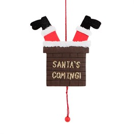 Santas Coming Chimney Jumping Jack Hanging Decoration
