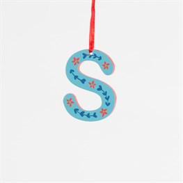 Retro Folk Art Alphabet Letter S Decoration
