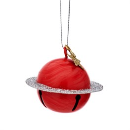 Outer Space Glitter Saturn Hanging Bell Decoration