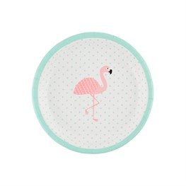 Set of 8 Tropical Summer Flamingo Paper Plates