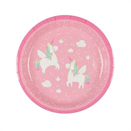 Set of 8 Rainbow Unicorn Paper Plates