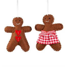 Festive Gingerbread Boy & Girl Hanging Decoration - 1 Piece