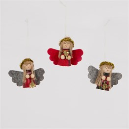 Tartan Angel Doll with Bell Hanging Decoration - 1 Piece