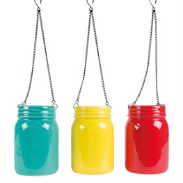 Bold Brights Hanging Mason Jar Vase  (options available)