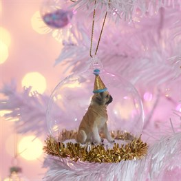 Party Pup Pug Tinsel Dome Bauble