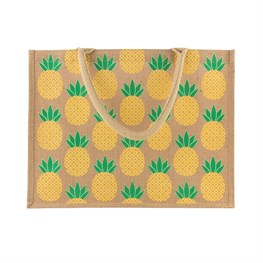 Tropical Summer Pineapple Jute Shopping Bag