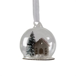 White Christmas House Dome Bauble