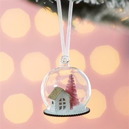 Home Sweet Home Pink Tree Dome Bauble