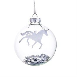 Magical Floating Silver Star Prancing Unicorn Bauble