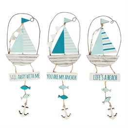 Seaside Sayings Boat Hanging Decoration  (options available)