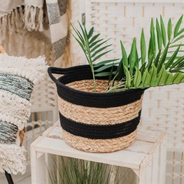 Black Rope & Grass Stripe Basket