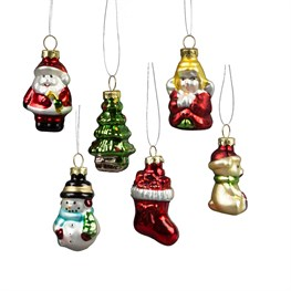 Glitzy Mini Christmas Characters Shaped Baubles - Set of 6
