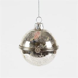 Silver Crackle Trinket Bauble