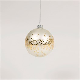 Cream Bauble with Gold Sequins